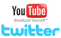 Youtube and Twitter logos